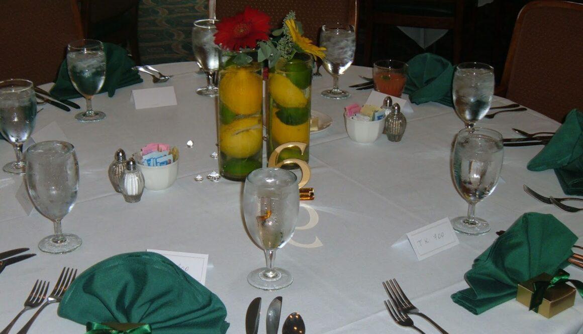 lemons and limes wedding centerpiece