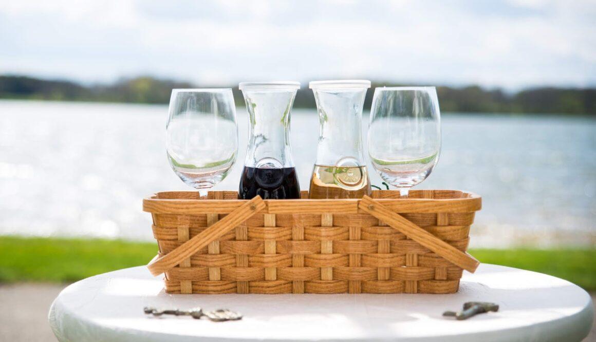 wedding wine in a basket