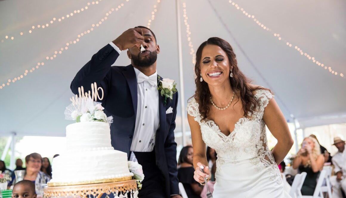 NFL couple tent wedding Hawthorne Gardens