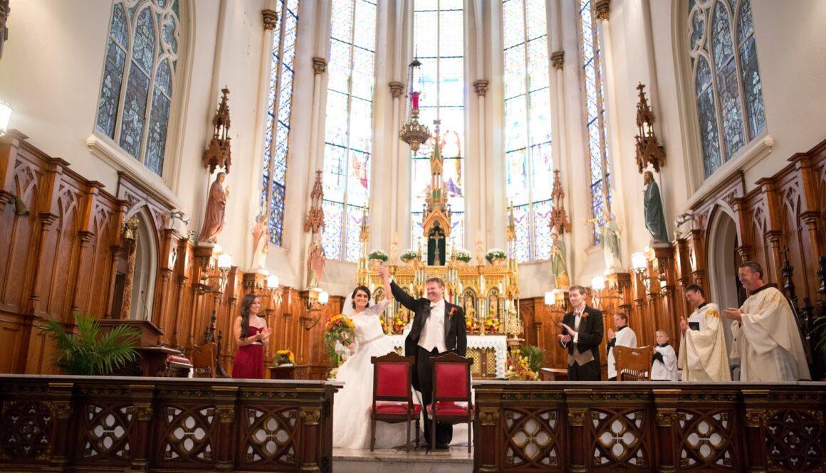 bride and groom st. Joseph church detroit