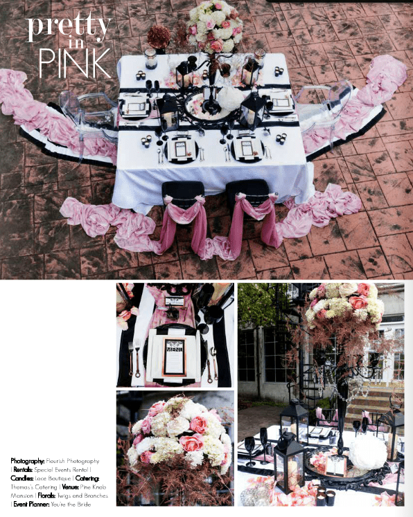 wed the mag, blush black and copper styled shoot, pine knob mansion