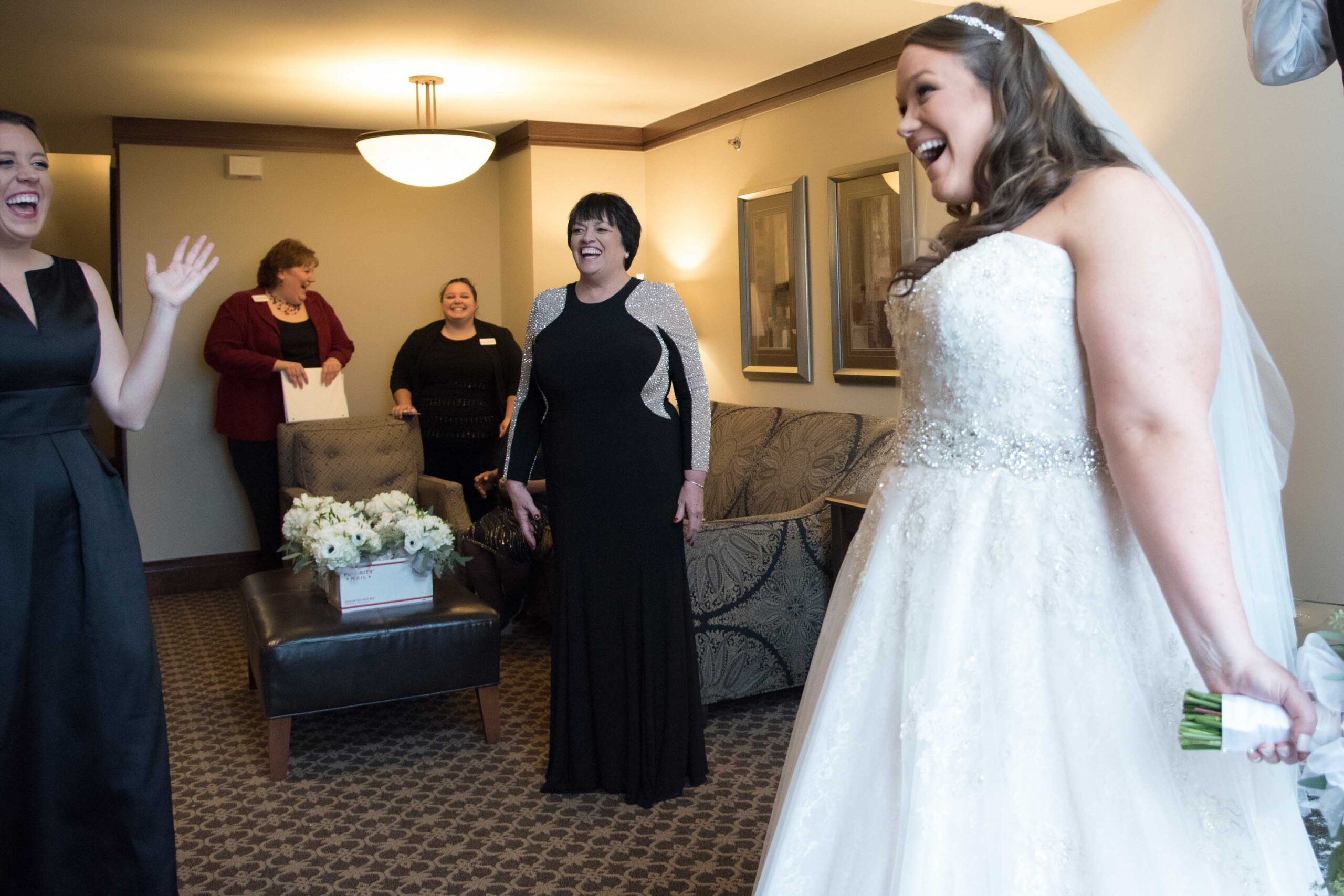 the inn at st. john's wedding, happy bride at hotel, detroit wedding planners